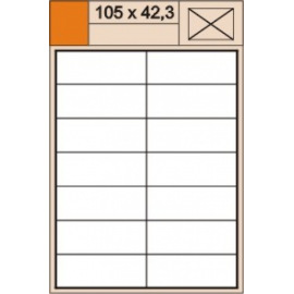 Etikety Plus A4 105 x 42,3 mm bílé,100 archů