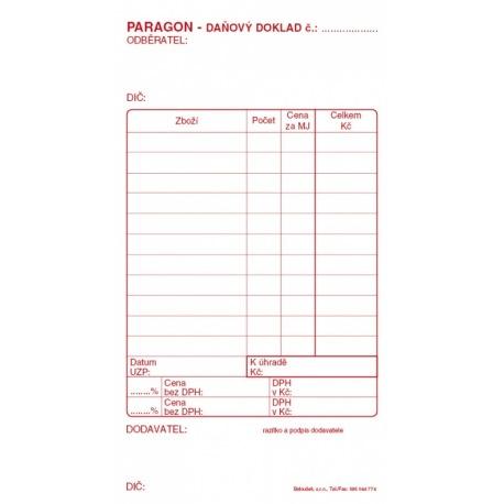 paragon daňový doklad SP blok